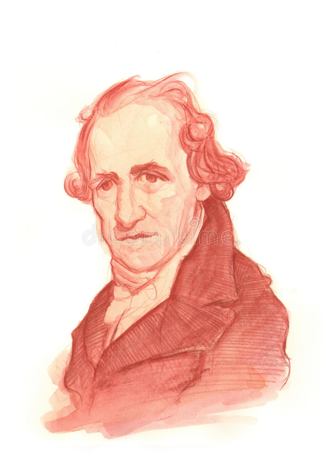 Retrato del bosquejo del Watercolour de James Watt ilustración del vector