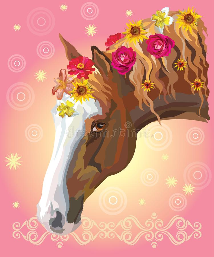 Retrato del caballo con flowers3 stock de ilustración
