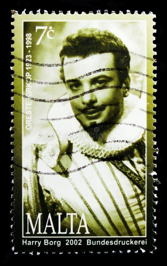 Retrato del cantante de la ópera de Oreste Kirkop, serie maltés 2002 de las personalidades, circa 2002 fotos de archivo