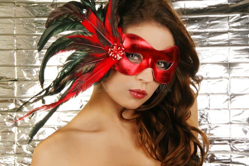 Retrato del carnaval hermoso atractivo mA de la mujer fotografía de archivo libre de regalías