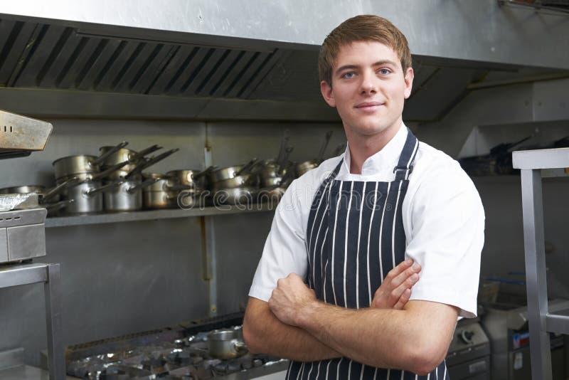 Retrato del cocinero In Kitchen foto de archivo