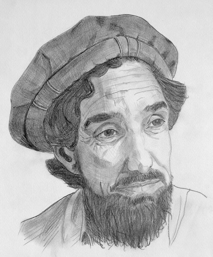 Retrato del comandante de Ahmed Shah Massoud libre illustration