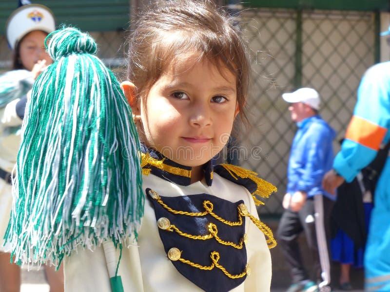 Retrato del conductor de la música de la muchacha de la banda escolar, Ecuador imagen de archivo