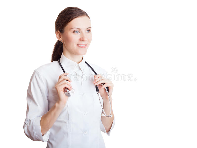 Retrato del doctor de sexo femenino joven sonriente feliz foto de archivo libre de regalías
