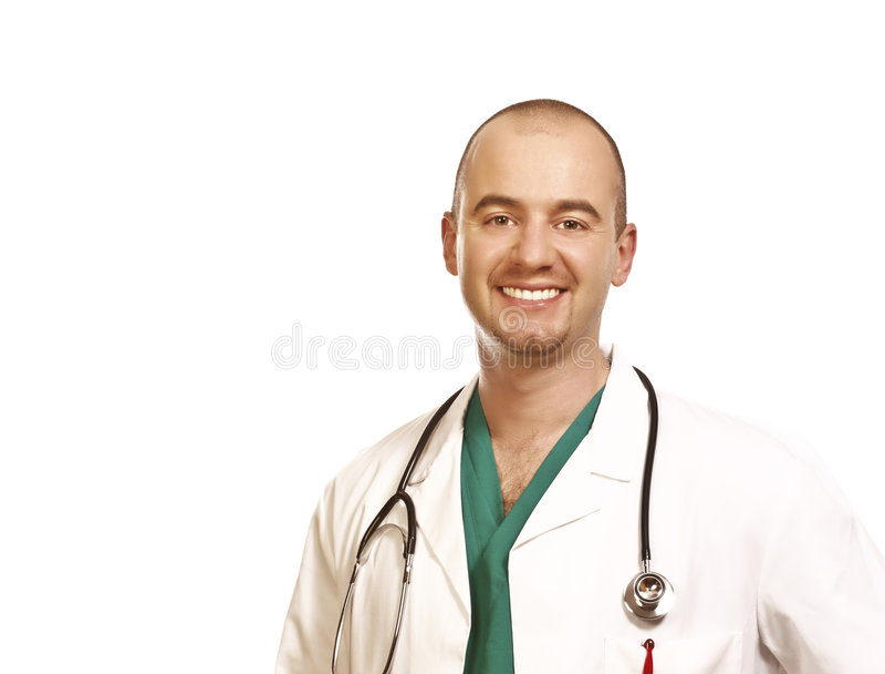 Retrato del doctor en el fondo blanco imágenes de archivo libres de regalías