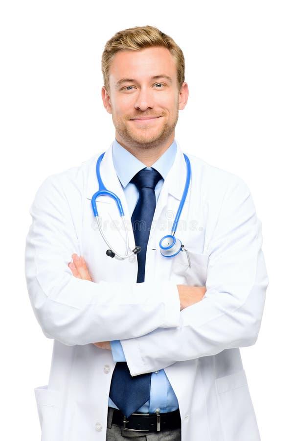 Retrato del doctor joven confiado en el fondo blanco fotografía de archivo libre de regalías