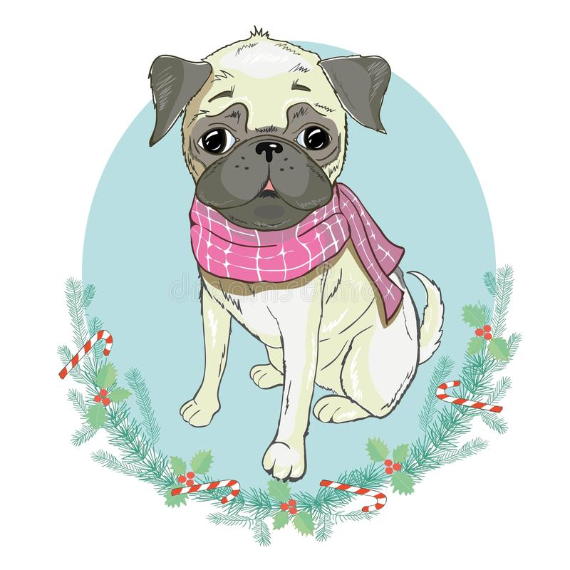 Retrato del dogo francés lindo en sombrero rojo de la Navidad en fondo azul Ilustración del vector Papá Noel _2 ` S del Año Nuevo stock de ilustración