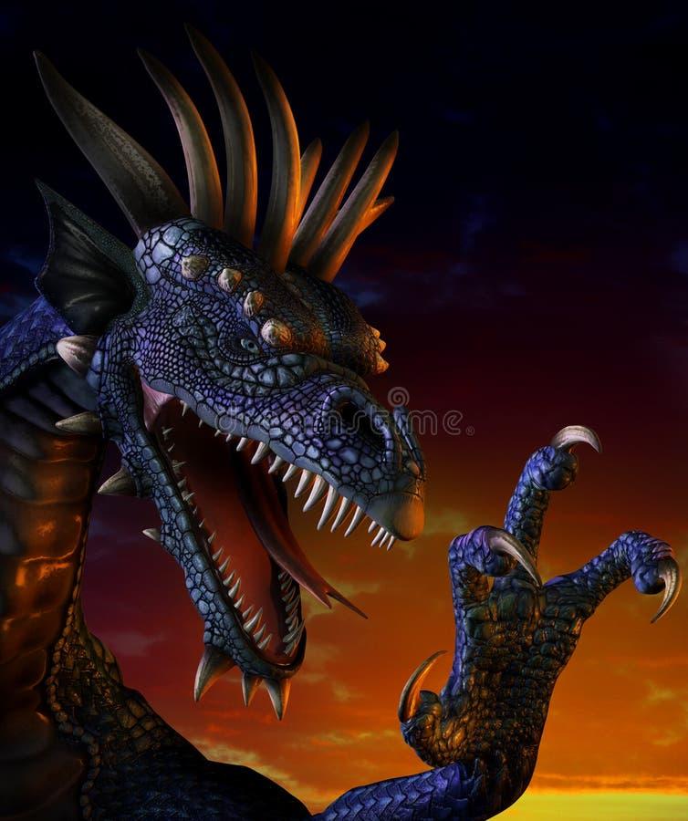 Retrato del dragón stock de ilustración