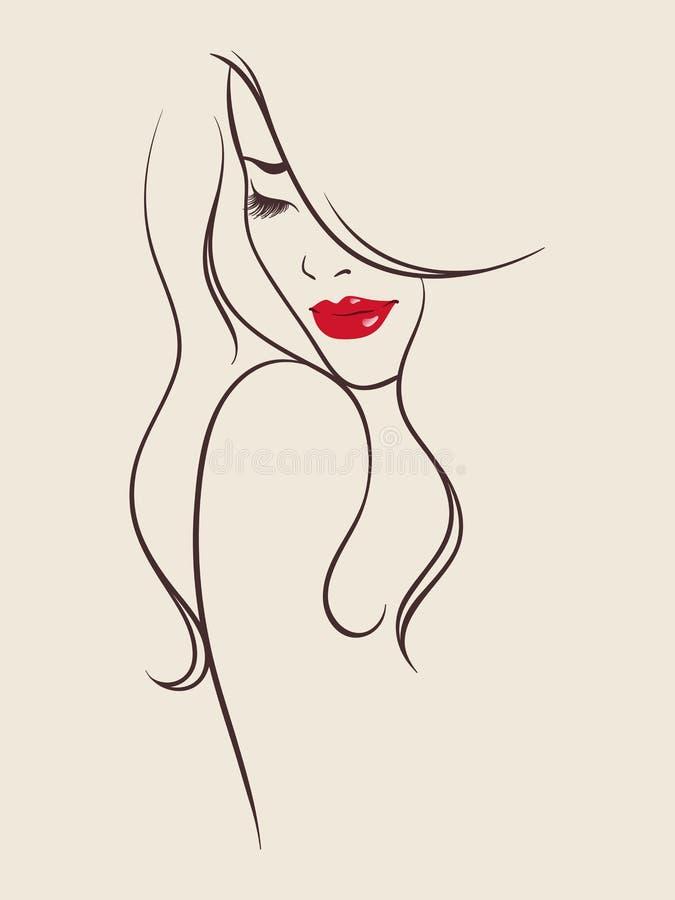 Retrato del ejemplo del vector de la mujer bastante joven libre illustration
