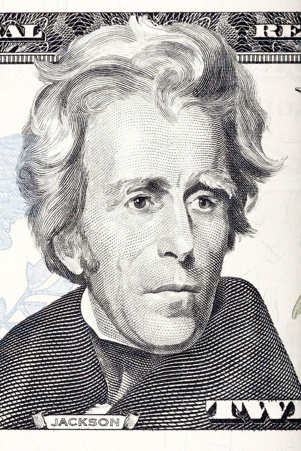 Retrato del estadista, del inventor, y del diplomata Benjamin Franklin de los E S presidente Andrew Jackson delante de los veinte fotos de archivo