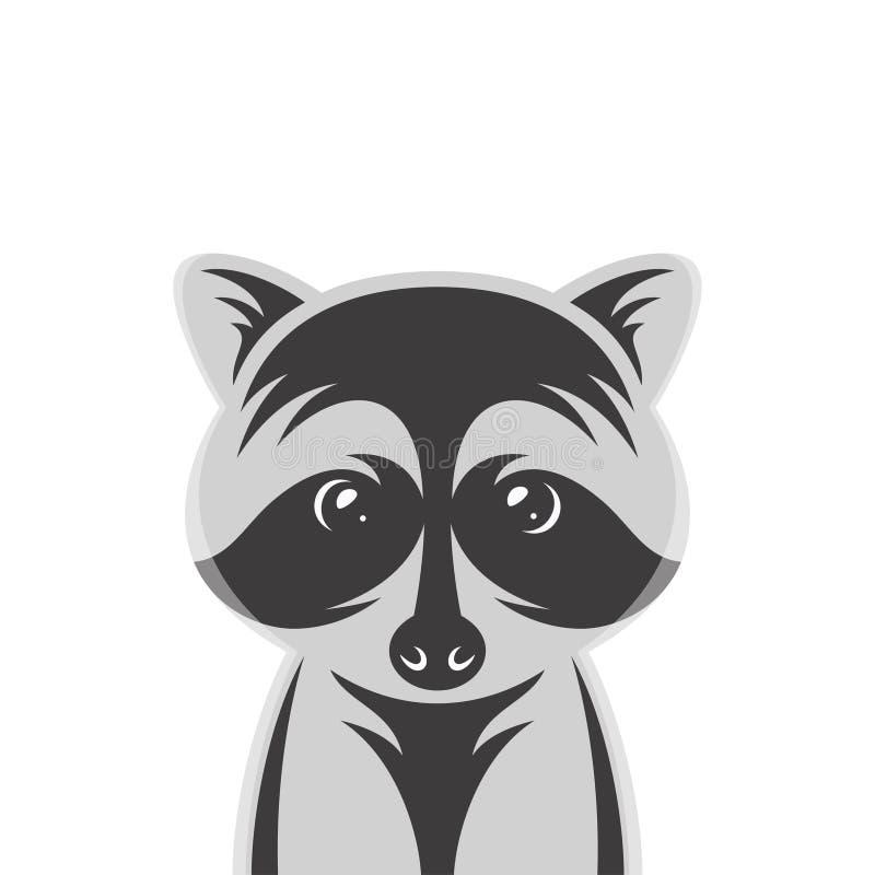 Retrato del estilo de la historieta del bebé del mapache Ejemplo del vector del vintage del cuarto de niños libre illustration