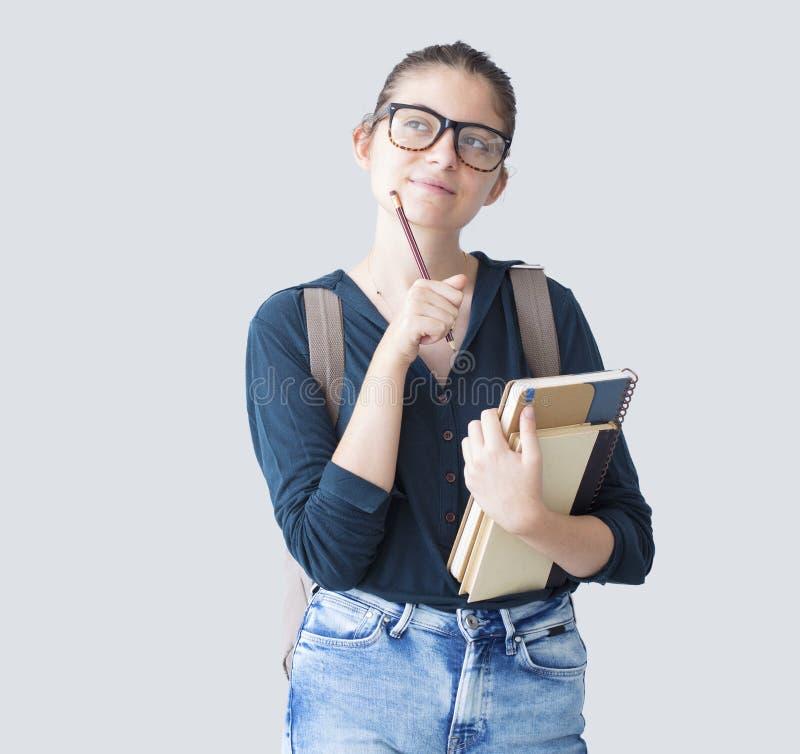 Retrato del estudiante pensativo fotos de archivo