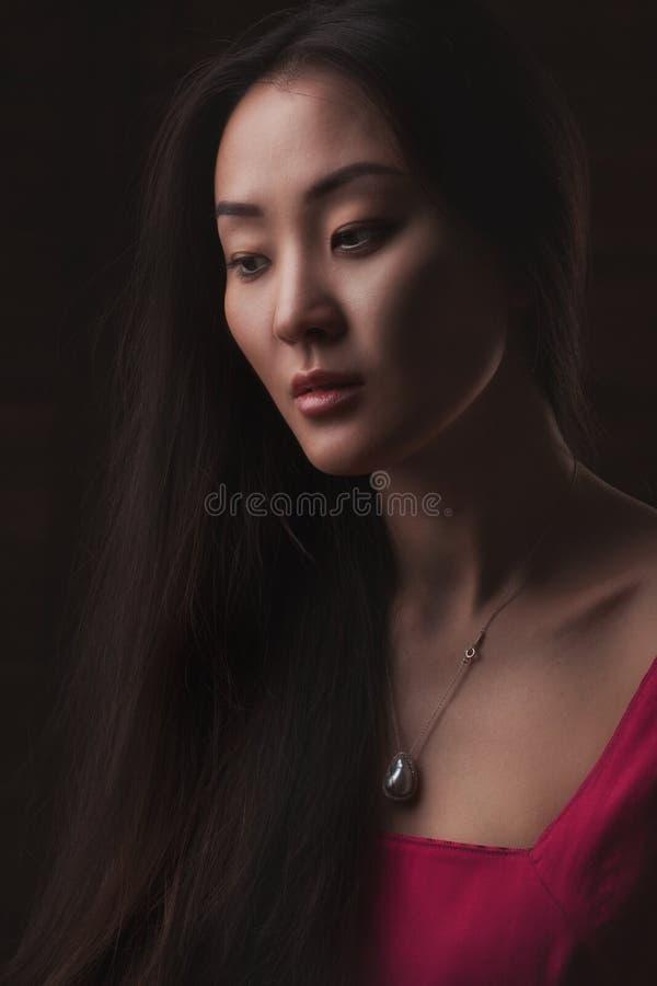 Retrato del estudio del primer de la mujer asiática hermosa fotos de archivo libres de regalías