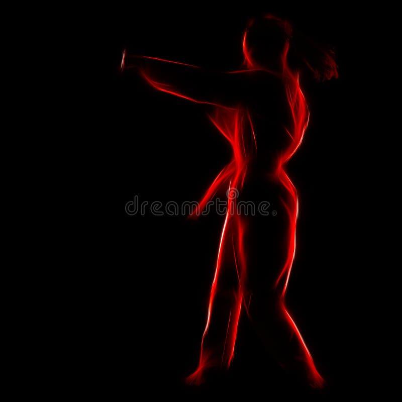 Retrato del fractal de la muchacha del karate imágenes de archivo libres de regalías