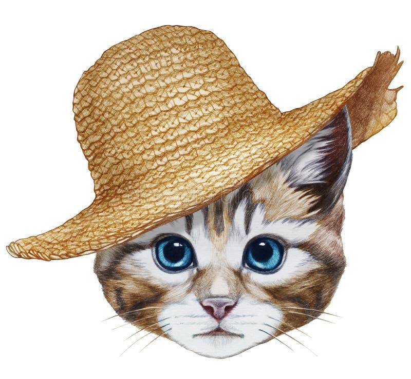 Retrato del gato con el sombrero de paja ilustración del vector