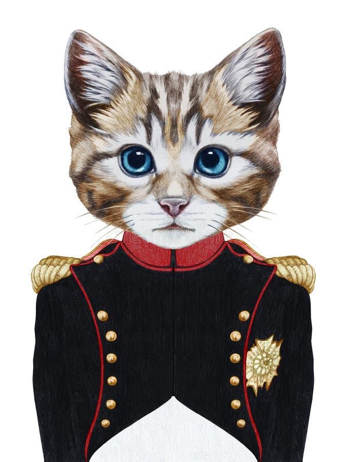 Retrato del gato en uniforme militar ilustración del vector