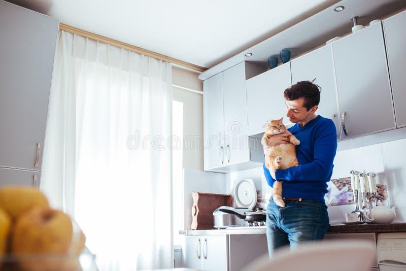 Retrato del gato hermoso de la tenencia del hombre joven en la cocina imagenes de archivo