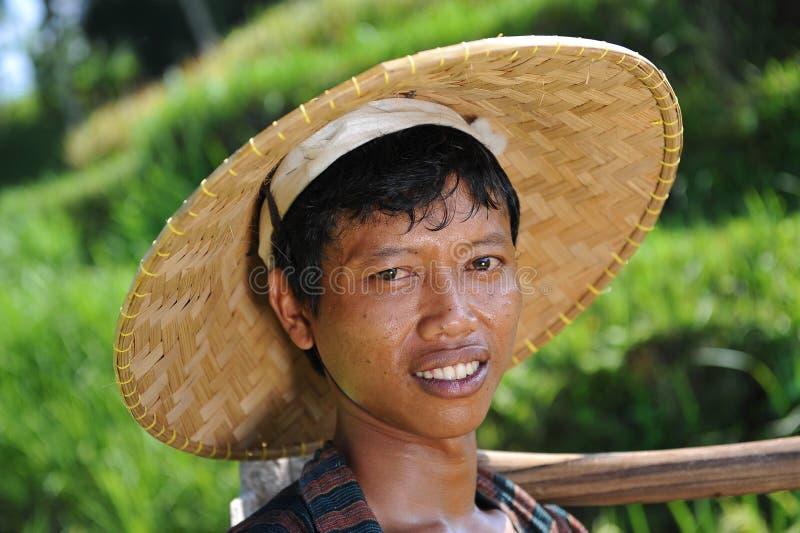 Retrato del granjero tradicional del arroz imagen de archivo