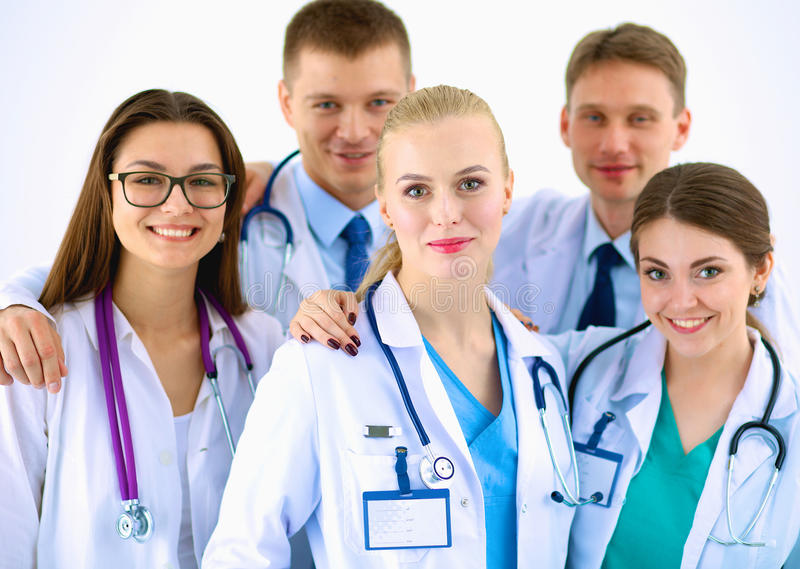 Retrato del grupo de colegas sonrientes del hospital fotografía de archivo libre de regalías