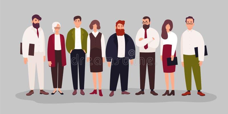 Retrato del grupo de los oficinistas, de los encargados o de los vendedores felices lindos uniéndose Equipo de varón sonriente y  stock de ilustración