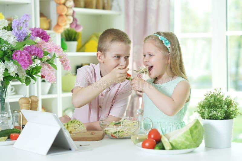 Retrato del hermano y de la hermana que cocinan junto foto de archivo libre de regalías