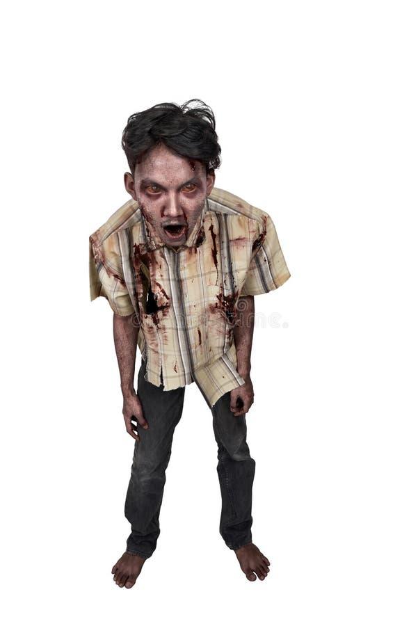 Retrato del hombre asiático asustadizo de los zombis imágenes de archivo libres de regalías
