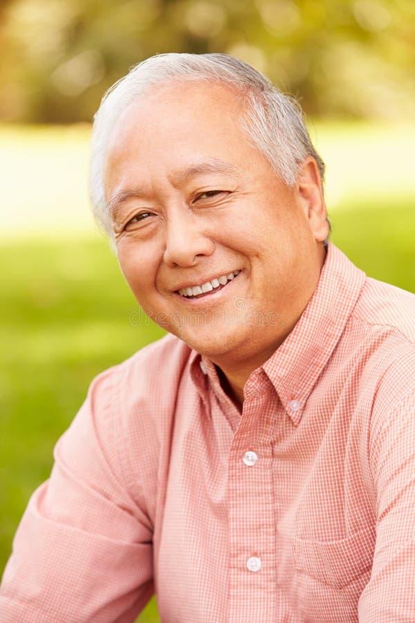 Retrato del hombre asiático mayor sonriente que se sienta en parque foto de archivo
