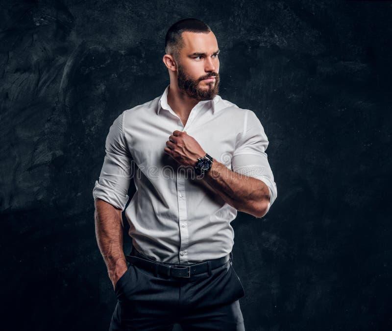 Retrato del hombre atractivo en la camisa blanca fotografía de archivo