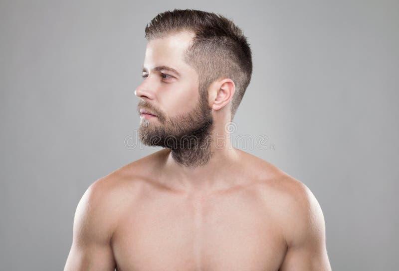 Retrato del hombre barbudo joven con un nuevo corte del pelo imagenes de archivo