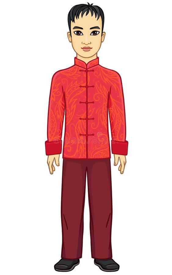 Retrato del hombre chino de la animación en ropa tradicional libre illustration