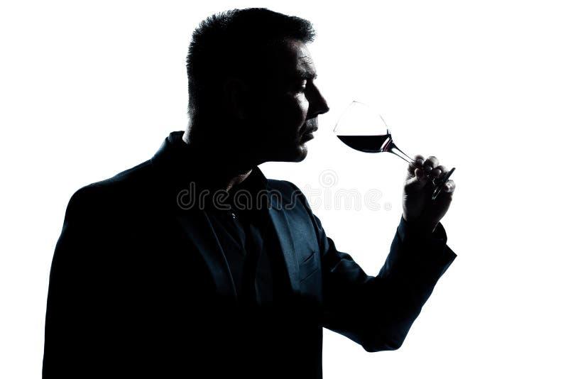 Retrato del hombre de la silueta que huele el vidrio de vino rojo imagen de archivo libre de regalías