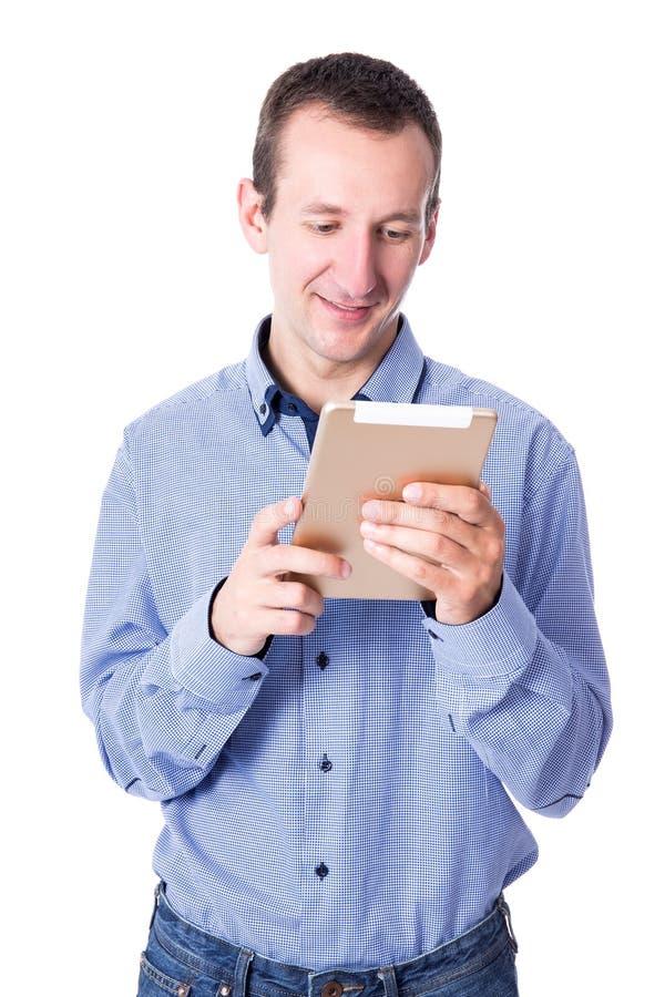 Retrato del hombre de negocios con PC de la tableta en blanco fotografía de archivo