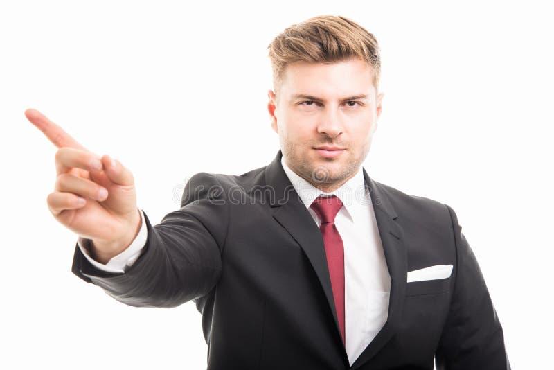 Retrato del hombre de negocios corporativos hermoso que muestra gestu de la negación fotografía de archivo libre de regalías