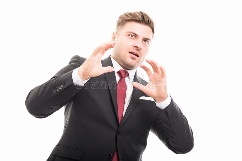 Retrato del hombre de negocios corporativos hermoso que parece asustado foto de archivo libre de regalías