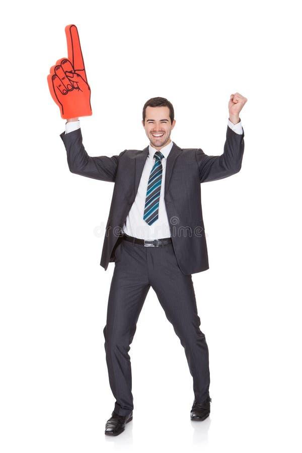 Retrato del hombre de negocios joven emocionado imagen de archivo libre de regalías