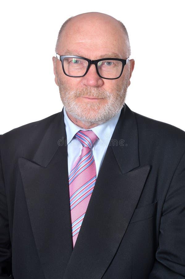 Retrato del hombre de negocios mayor en el fondo blanco imágenes de archivo libres de regalías