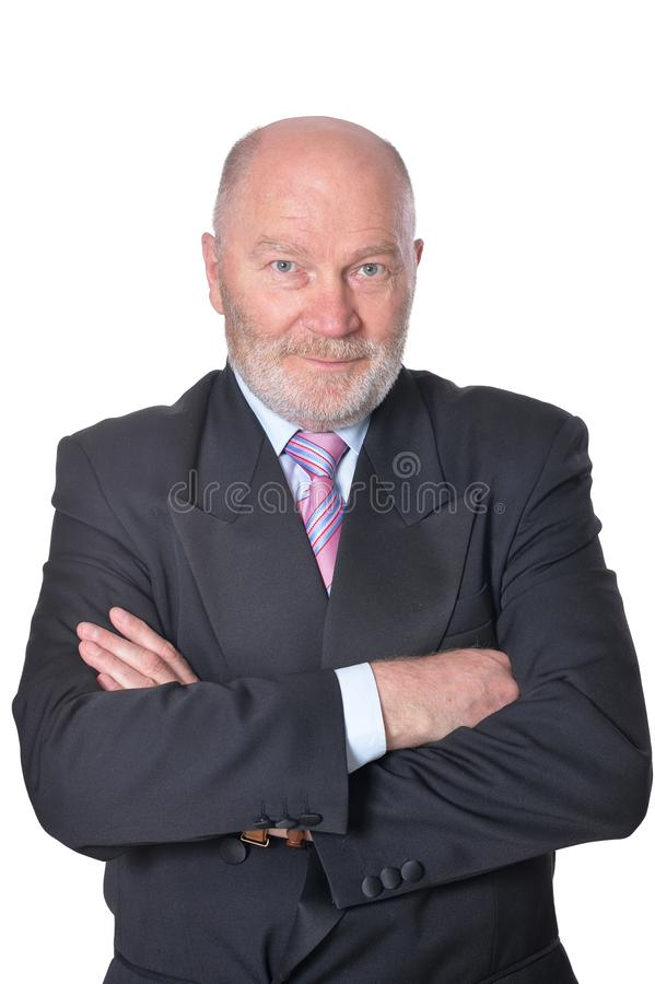 Retrato del hombre de negocios mayor en el fondo blanco foto de archivo