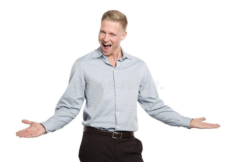 Retrato del hombre de negocios joven entusiasta. imagen de archivo