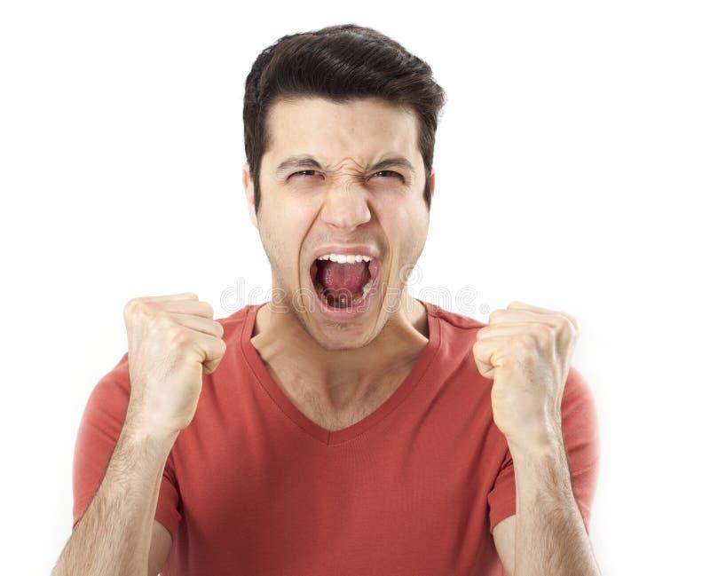 Retrato del hombre enojado joven fotografía de archivo