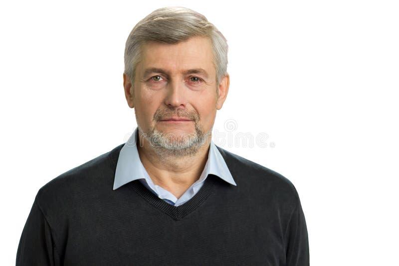 Retrato del hombre gris del pelo fotografía de archivo