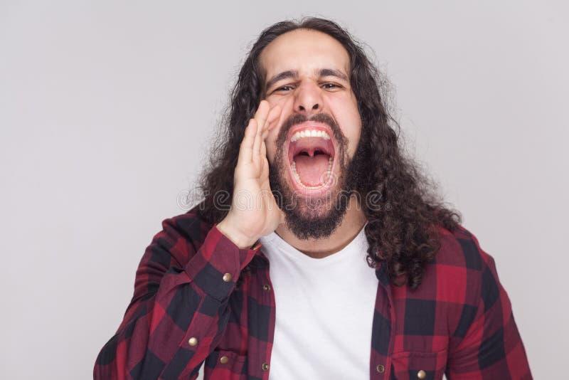 Retrato del hombre hermoso del rugido con la barba y la ha rizada larga negra fotografía de archivo libre de regalías