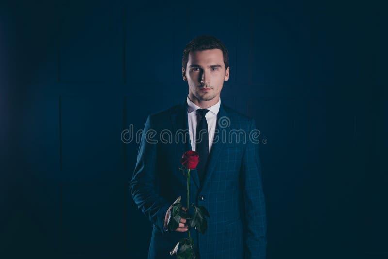 Retrato del hombre ideal, atractivo, imponente con la cerda, checke fotos de archivo