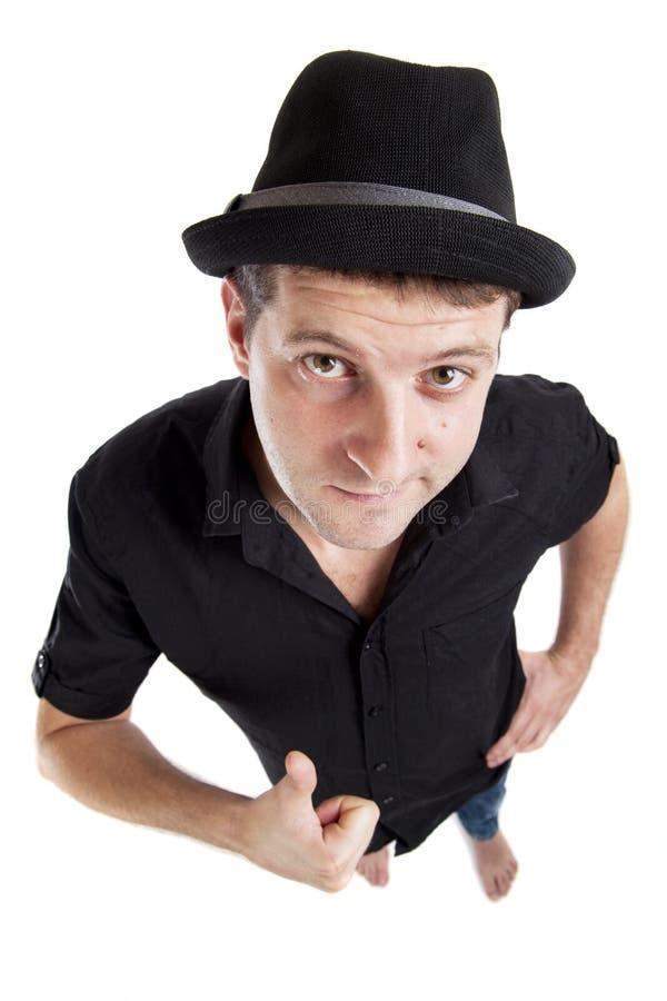 Retrato del hombre joven con el pulgar para arriba fotografía de archivo libre de regalías