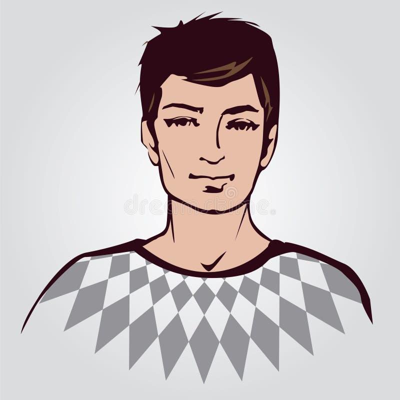 Retrato del hombre joven en un suéter stock de ilustración