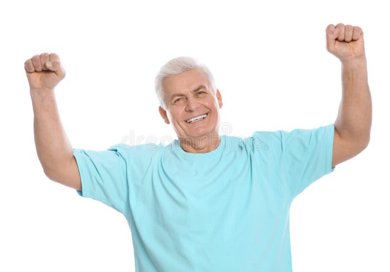 Retrato del hombre maduro que ríe en blanco fotos de archivo libres de regalías