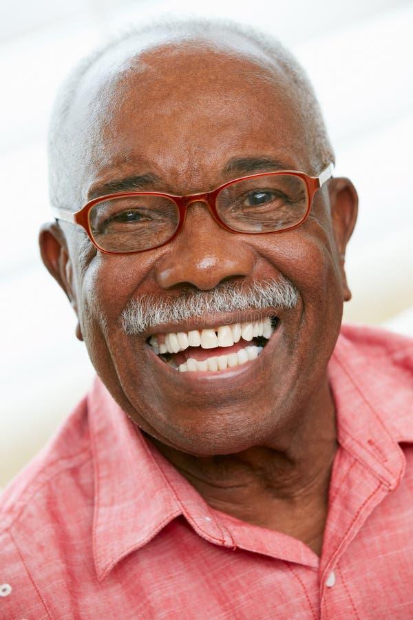 Retrato del hombre mayor feliz en casa imagenes de archivo