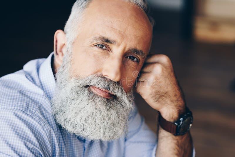 retrato del hombre mayor pensativo hermoso foto de archivo libre de regalías