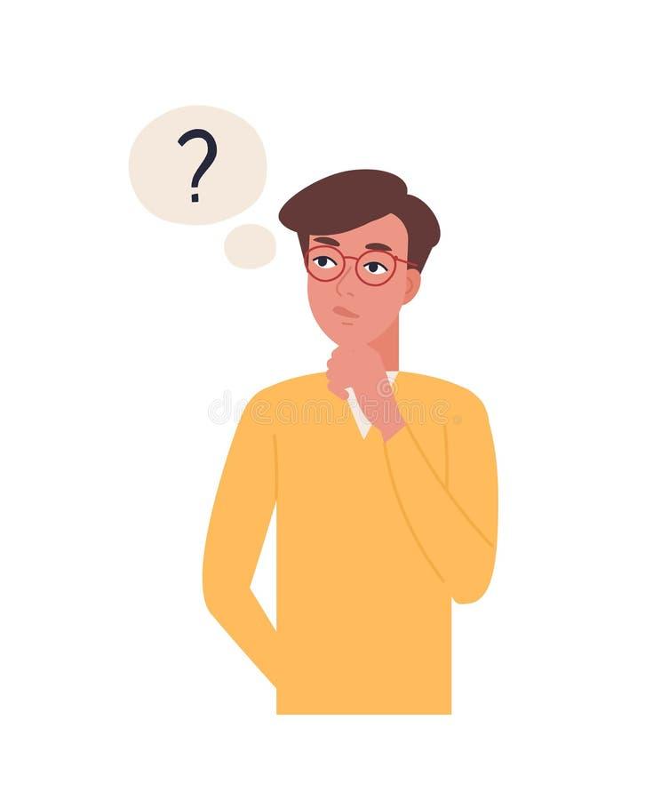 Retrato del hombre pensativo joven aislado en el fondo blanco Muchacho pensativo o de pensamiento en los vidrios rodeados por el  stock de ilustración