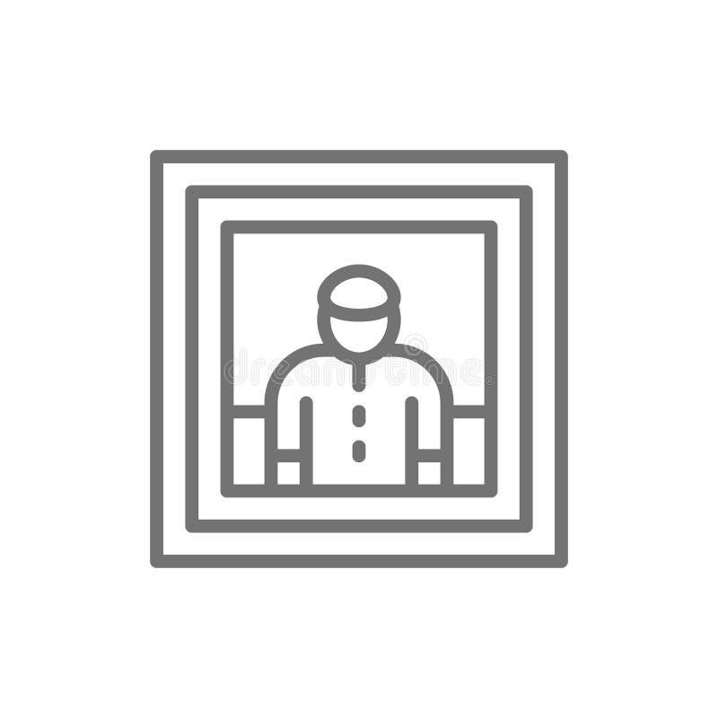 Retrato del hombre, pintura, foto, línea icono del selfie ilustración del vector