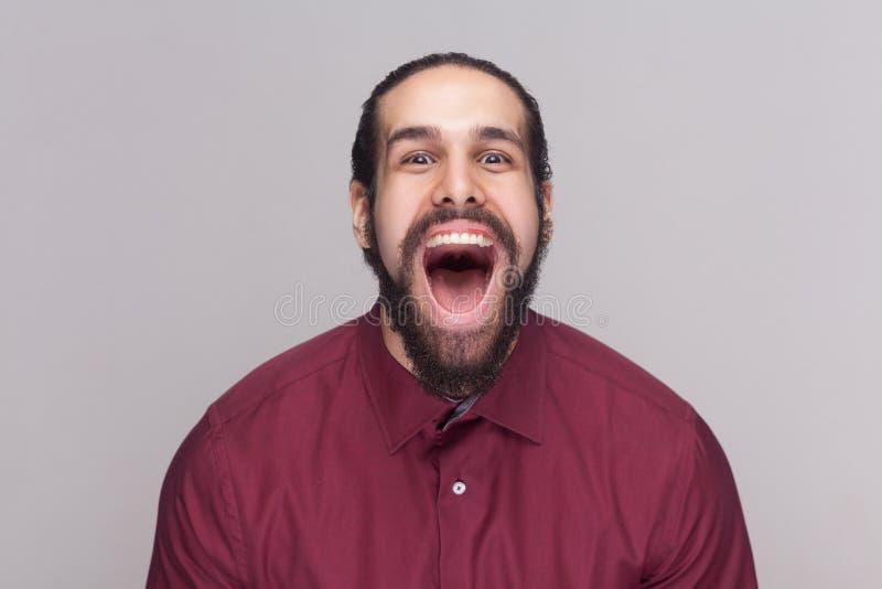 Retrato del hombre sorprendente divertido con el pelo oscuro y de la barba en shi rojo imagenes de archivo